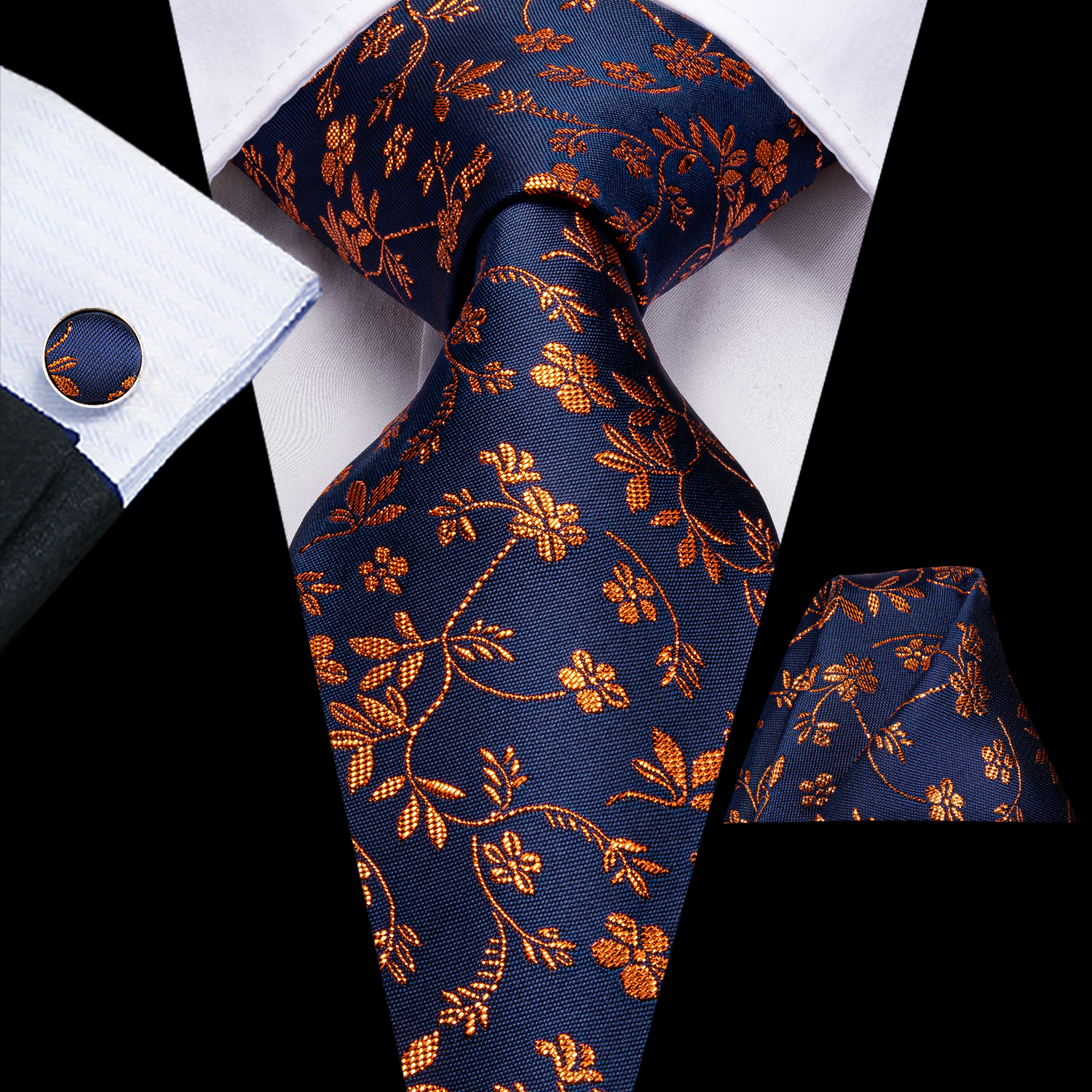 Hi-Tie Luxury Floral Paisley Ties For Men Male Desigenr Red Green Snow Ties For Christmas Adult Silk Tie Hanky Cufflinks Tie Set