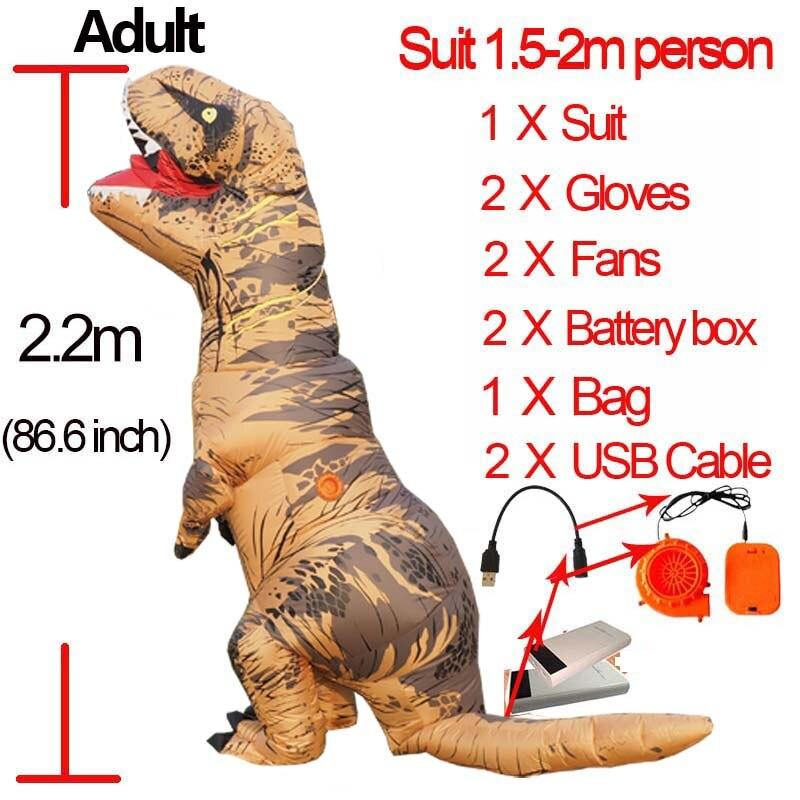 Jurassic World 2 Velociraptor Costume Inflatable T REX Dinosaur Costume Halloween Cosplay Adult Fantasy Raptor Mascot Costume (6)