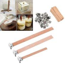Velas de madera con portavelas, 50/60/90/130/150mm, núcleo de madera para suministro de cera de soja, Parffin, 50 Uds.