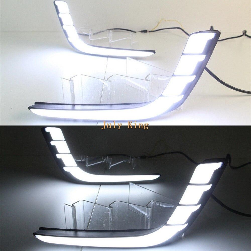 Caso de luz de circulação diurna da luz do guia do rei de julho para suzuki swift 2014 2016, drl do diodo emissor de luz com luz amarela dos sinais de volta - 4