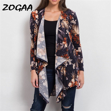 Women Vintage Floral Print Blouses Shirt 2019 Spring Long Sleeve Casual Irregular Kimono Cardigan Elegant Loose Cardigans Tops white open front floral print cardigans