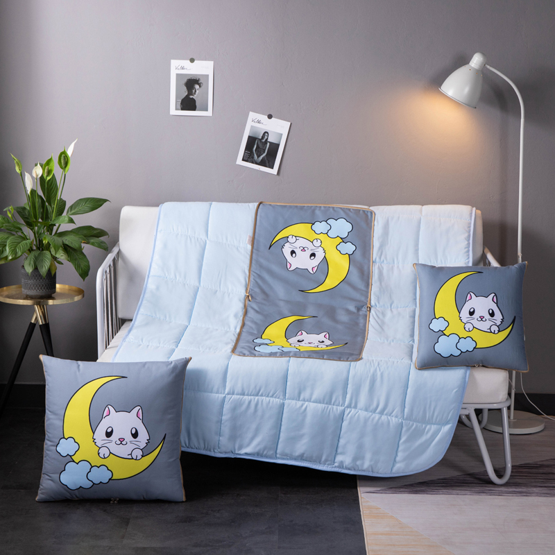 2 In 1 Cushion Blanket Soft Cartoon Quilt Sofa Car Throw Pillow Children USE Travel Portable Foldable Patchwork Blanket