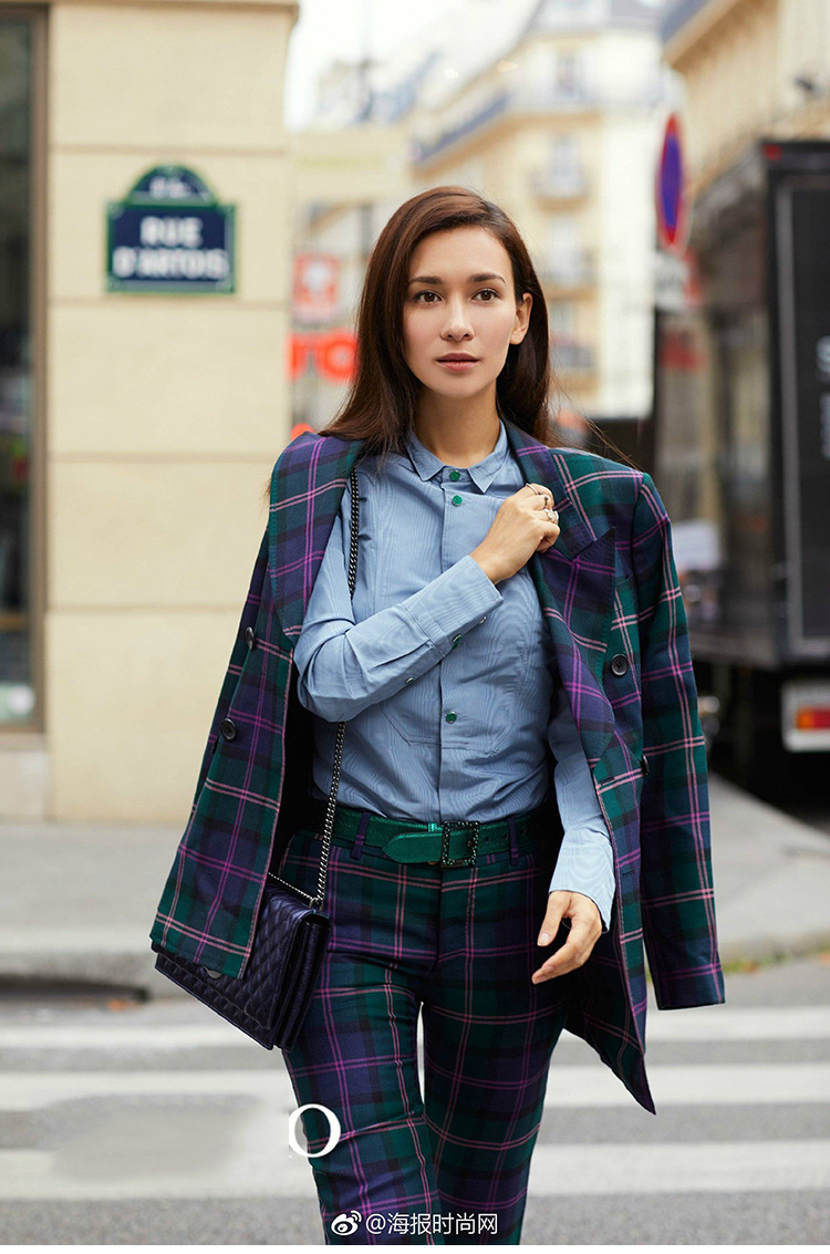 S-3XL high quality new fashion plaid print Slim thick fabric suit double-breasted shirt flared trousers women's suit 52