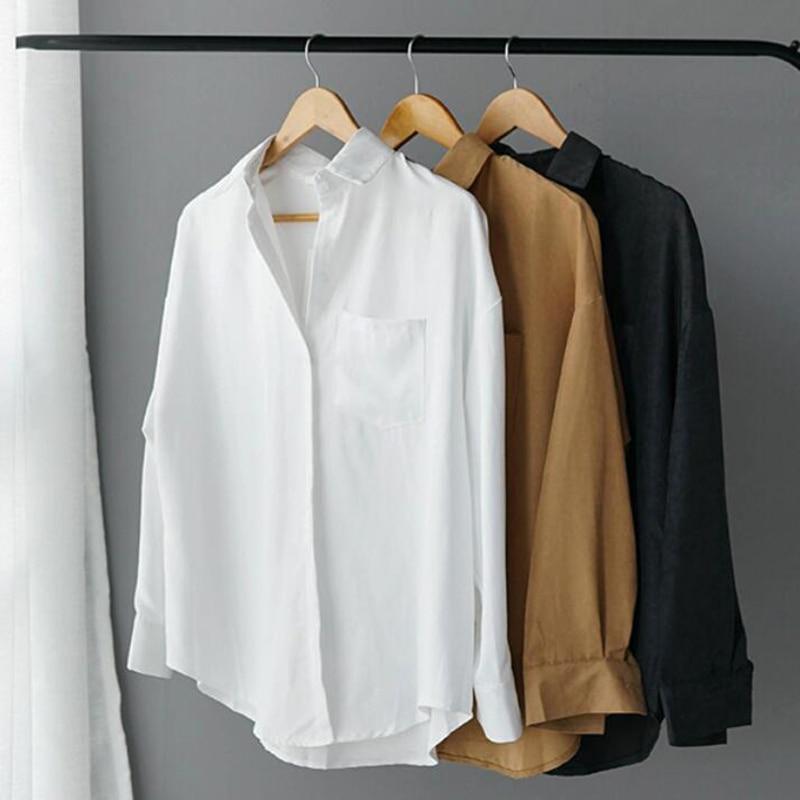 Lizkova White Blouse Formal-Shirt Streetwear Long-Sleeve Suede Women 8866 Spring Lapel