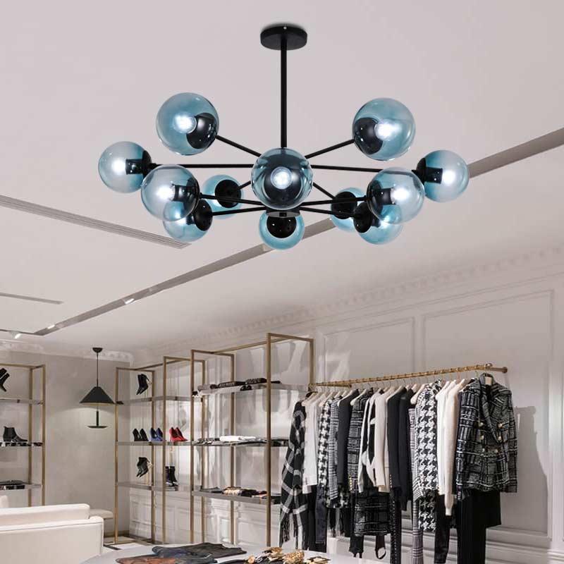 Современные стеклянные люстры для гостиной, спальни, фойе, черная лампа, люстры для дома, светильник ing, железный светильник E27 110 220 В