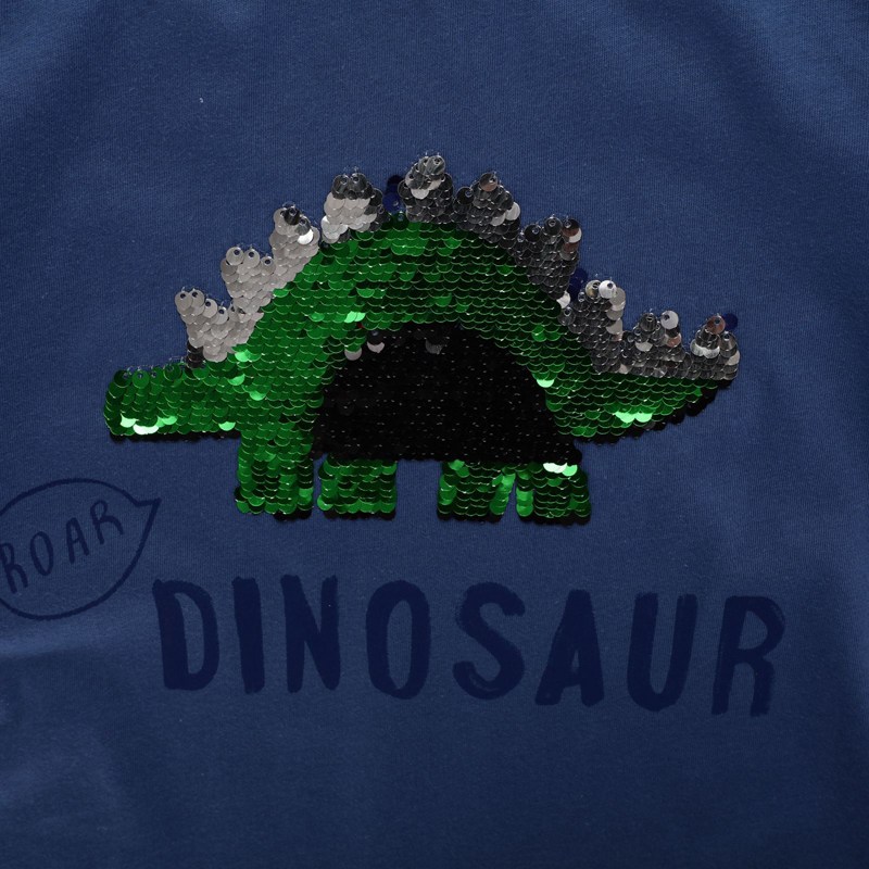 SAILEROAD Boys t-shirts Green Dinosaur Face-changing Red Dinosaur Paillettes Shirts for Kids Clothes Sequins T Shirts Children 4