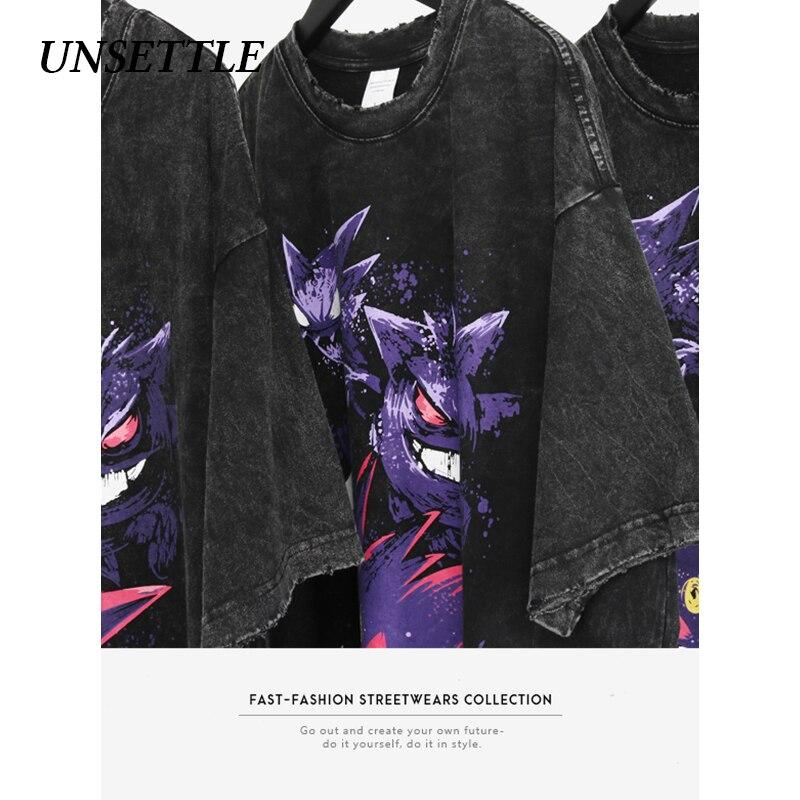 UNSETTLE 2020SS Harajuku T-shirts Summer Men/Women Hip Hop Funny Print Pokemon Fashion Streetwear T Shirt Short Sleeve Tee Tops