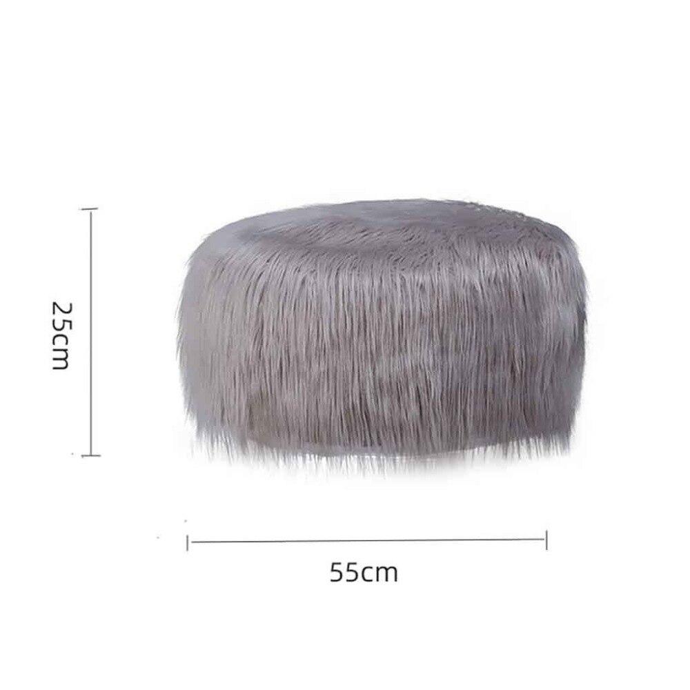 Plush Sofa Stool Futon Mat Inflatable Portable Round Footstool European Style (15)