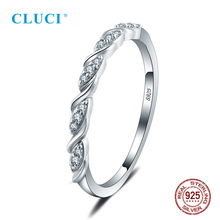 CLUCI Genuine 925 Sterling Silver Round Ring Classic Women Wedding Geometric Zircon Jewelry Valentine Gift
