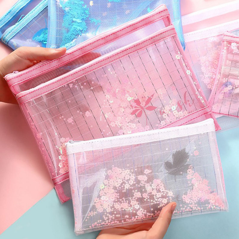 1 Pcs A5/B6 Colorful Dream Mesh File Holder Student PVC Transparent Pencil Case Storage Bag Korean Stationery School Pencil Bag