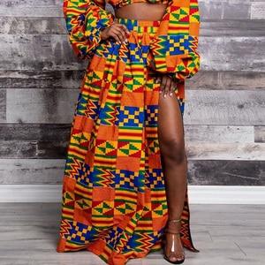 Image 4 - 2020 女性アフリカdashiki弾性秋冬夏マキシビーチスカート花柄ハイウエストプリーツ床の長さのスカート
