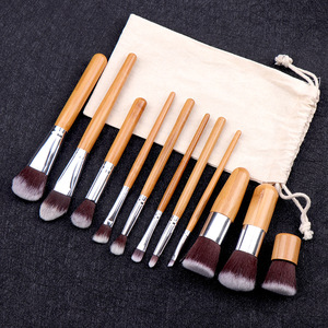 Image 5 - 11PCs Natural Bamboo Makeup Brushes Set High Quality Foundation Blending Women Beauty Cosmetic Make Up Tool Set With Cotton Bag