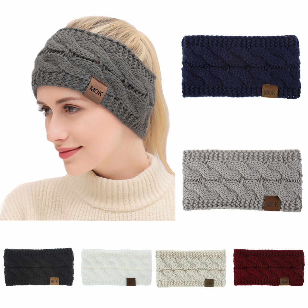 ISHOWTIENDA women's warm thick headband Autumn And Winter Pure Color Wool Knitted Hair Band Sports Headband for ladies#905Y45