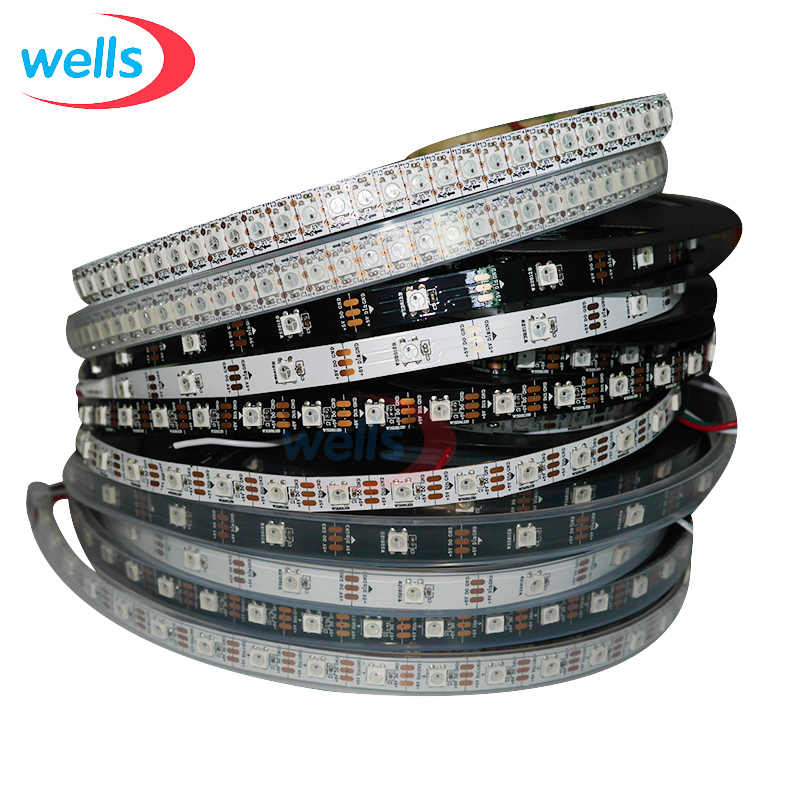 DC5V WS2812B 1 M/4 M/5 M 30/60/74/96/144 Pixels/Leds/M Smart Led Pixel Strip, zwart/Wit Pcb, WS2812 Ic; WS2812B/M,IP30/IP65/IP67
