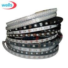 Умная светодиодная Пиксельная лента WS2812B, 5 в постоянного тока, 1 м, 4 м, 5 м, 30/60/74/96/144 пикселей/светодиодов/м, черная/белая печатная плата, WS2812 IC, WS2812B/m IP30/IP65/IP67