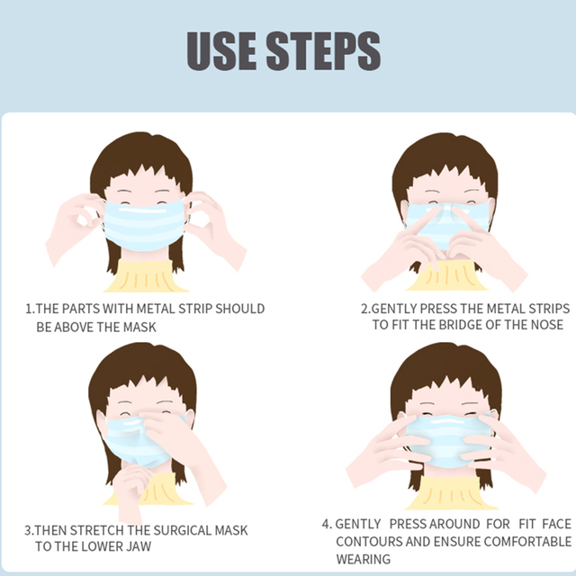 50Pcs/100pcs Mask Disposable Nonwove 3 Layer Ply Filter Mask mouth Face mask filter safe Breathable Protective masks 3