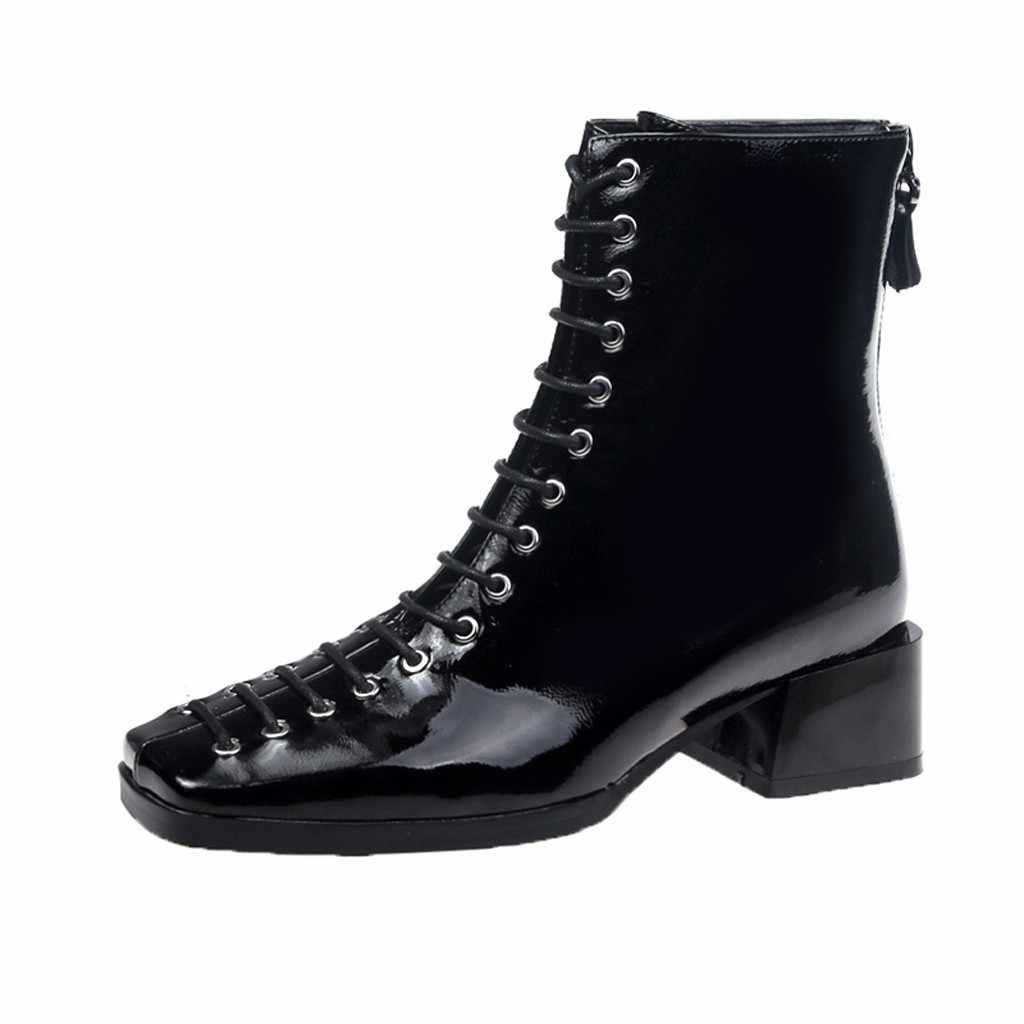 Kare ayak yarım çizmeler kadın moda mavi Patent deri bağcıklı orta yüksek ayakkabı İngiliz tarzı Bota Feminina Dropshipping