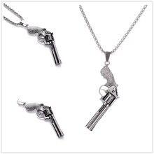 Gothic Retro Stainless Steel Revolver Pendant Necklaces Charm Revolver Pendant for Women Men Gift Jewelry + Chain топ atelier revolver atelier revolver at011ewjfj63