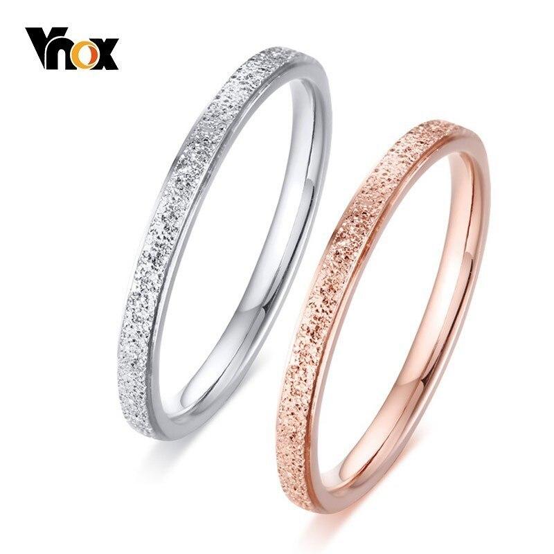 Vnox fina 2mm anéis para mulheres sandblast aço inoxidável casamento bandas anel anillo aliança