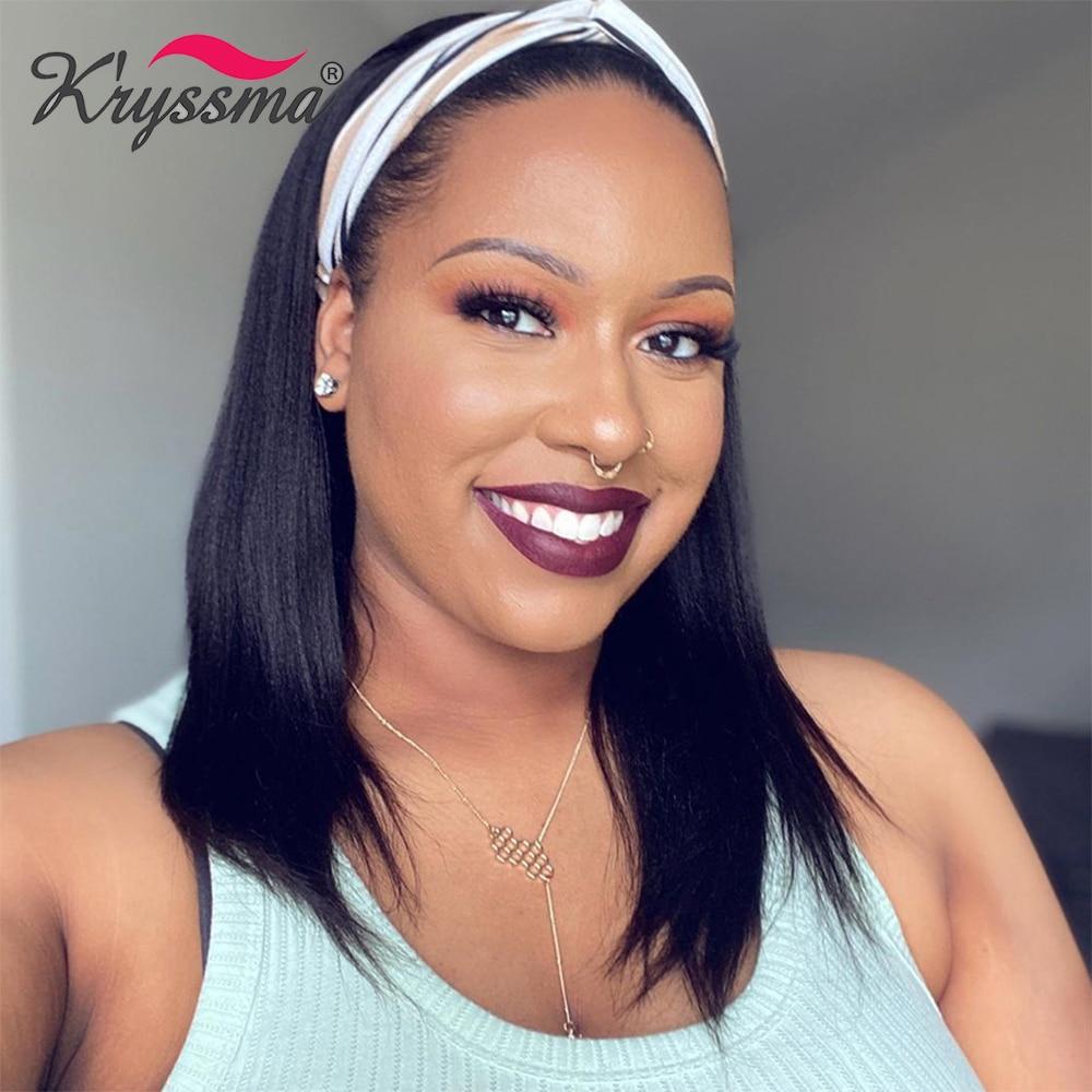 Kryssma – perruque synthétique noire naturelle, faite à la Machine, couleur naturelle, perruque complète courte et lisse, bandeau pour femmes
