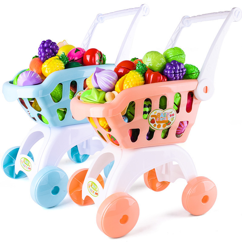 Children Play House Large Size Model Shopping Cart Toy Baby Cut Fruit & Vegetable GIRL'S Slicer Set Boy