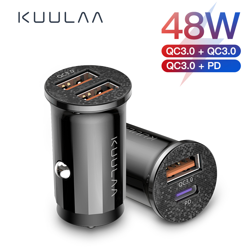 KUULAA Mini USB Car Charger Quick Charge 4.0 PD 3.0 48W Fast Charging Charger For iPhone Huawei Xiaomi Mi Type C Mobile Phone 1