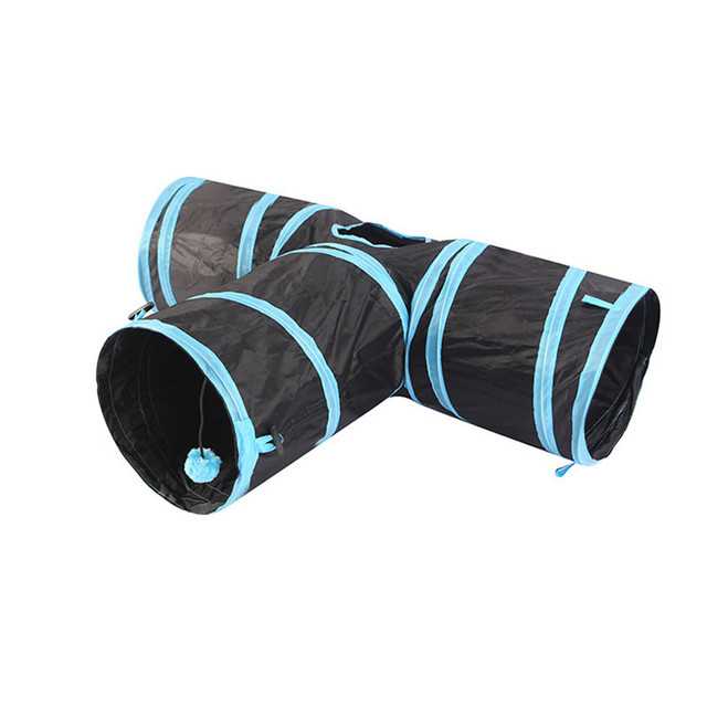 3 Holes 2 Colors Fold-able Pet/Cat Tunnel Indoor Outdoor Pet Training Toy /Animal Play Tunnel Tube