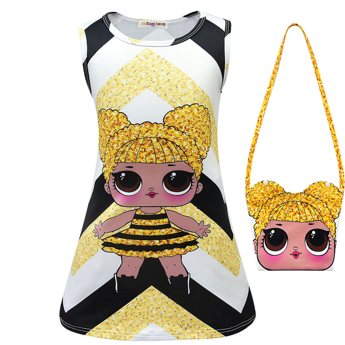 Kids Dresses For Girls 2019 Summer Cartoon Lol Dress Sleeveless Flower Print Toddler Children's Lol Dolls Clothes For Girls