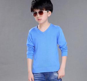 Image 5 - 2020 ربيع الأطفال ملابس الأولاد البلوزات الصلبة السببية كم طويل الخامس الرقبة الصبي رقيقة محبوك البلوزات للبنين كبير الاطفال القمم