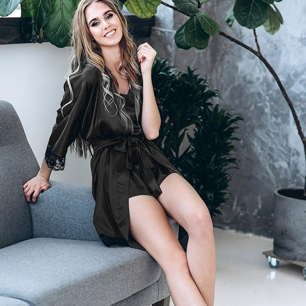 New Fashion Classic Women's Intimates Sexy Solid Black Wine Silk Satin Kimono Robe Lace Nightwear Bodydoll Sleepwear Lace Robes