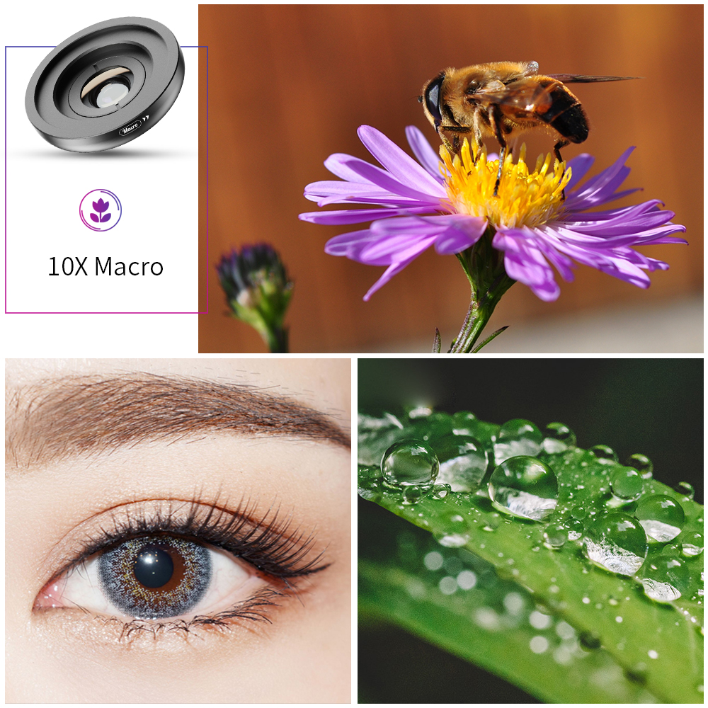 Image 4 - APEXEL 2in1 HD Camera Phone Lens Kit 120 degree 4K Wide angle lens + 10X Macro lens for iPhone 11 Samsung xiaomi all smartphoneMobile Phone Lens   -