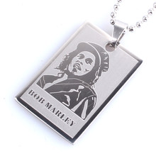 Argento Bob Marley Tag 316L in Acciaio Inox Catena Pendente Collane di Perline per Le Donne Degli Uomini All'ingrosso