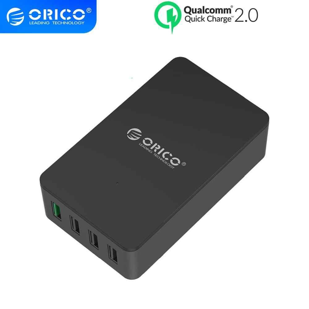 Orico Charger Cepat QC2.0 4 Port Desktop USB Charger untuk Samsung Xiaomi Huawei Ponsel dan Tablet dengan Uni Eropa Plug