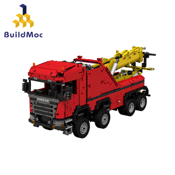 BuildMoc technic rc truck car model building blocks Scania 8x8 Extreme tow trucks Arocs moc bricks remote control vehicle toys