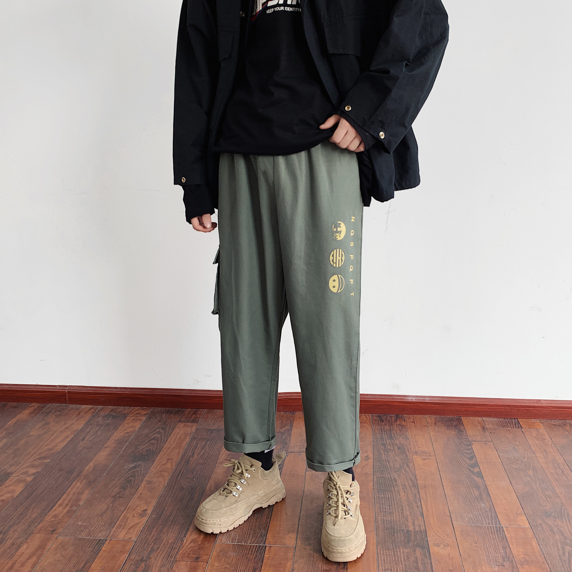 Bib Overall Men Popular Brand Loose-Fit Straight-leg Pants Spring And Autumn INS Super Fire Korean-style Trend Students Casual P