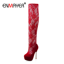 ENMAYER Super High Thin Heels Lace Womens Shoes Round Toe Slip-On Heel TPR Sexy Embroider Women Platform PU