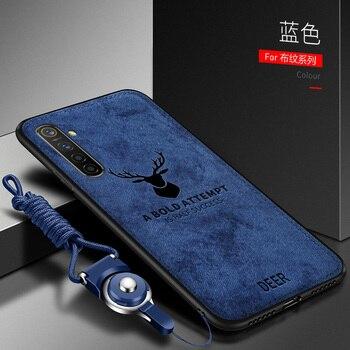 Перейти на Алиэкспресс и купить Для OPPO Realme X2 XT чехол Роскошный мягкий силикон + жесткая ткань олень тонкий защитный чехол на заднюю панель для realme X Q 3 5 Pro shell