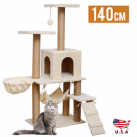 New Cat Tree Scratching Tower Condo Post Furniture Pet Cats Jumping Play Toy Climbing Frame House with Swing Ball Beige Gray