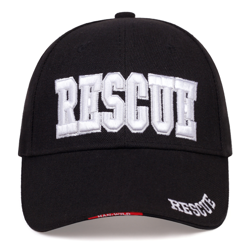 New RESCUE Letter Embroidered Baseball Cap Fashion New Pure Cotton Sun Hat Unisex Wild Casual Sports Caps Adjustable Hip Hop Hat