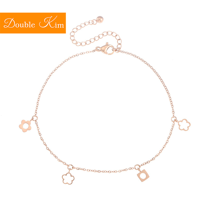 Simple Small Flowers Anklet Titanium Stainless Steel Rose Gold Color Prevent Allergy Anklets Fashion Trendy Women Jewelry Gift