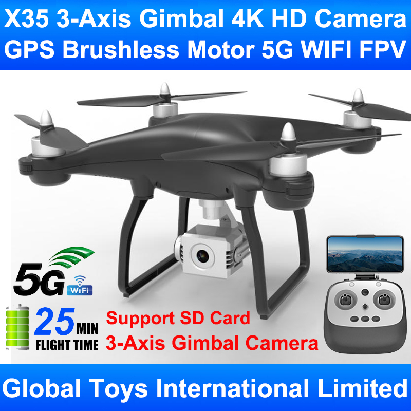 New Arrival X35 3-Axis Gimbal Professional 4K HD Camera Brushless Motor GPS 5G WIFI FPV Best RC Drone Quadcopter Support SD Card