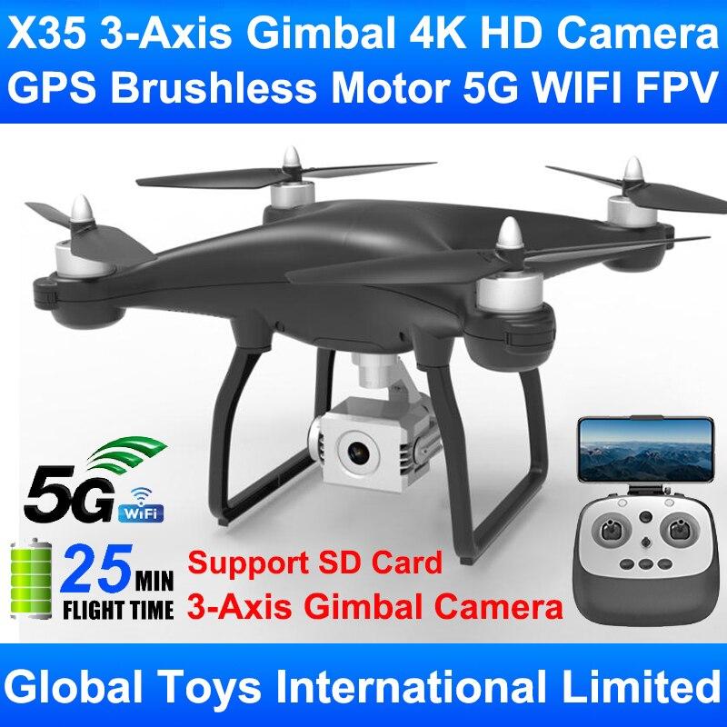 X35 Профессиональный 3 осевой карданный подвес, 4K HD камера, бесщеточный мотор, GPS, Wi Fi, FPV, лучший Радиоуправляемый Дрон, Квадрокоптер, поддержка SD карты|RC-вертолеты|   | АлиЭкспресс