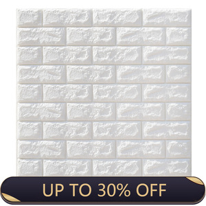 77*70cm 10pcs 3D Brick Wall Stickers Wallpaper Decor Foam Waterproof Wall Covering Wallpaper For Kids Living Room DIY Background