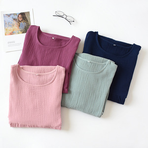 Image 5 - Summer Sleepwear 100% Cotton Crepe Short sleeved Sleepshirts Plus Size Loose Nightgowns Women Night Gown Sexy Sleeping Dress
