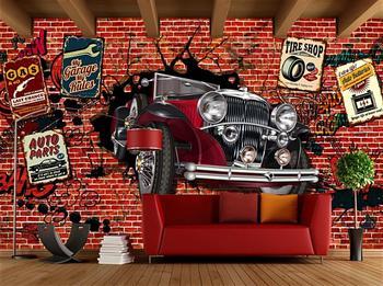 3d photo wallpaper european nordic retro graffiti wallpaper living room lobby wallpaper 3d stereo custom bedroom bathroom mural European Graffiti car Mural Wallpaper for Children's Room Living Room Home Decor Custom 3D Stereoscope Wallpaper For Wall Murals