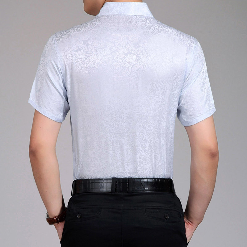 Summer 100%Silk Shirt Men White Short Sleeve Shirt High Quality Men Dress Shirts Korean Social Camisa Hombre 2984 KJ1940