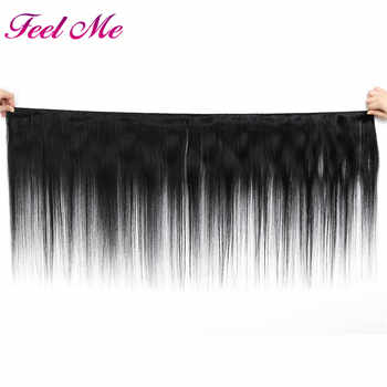 Feel Me Malaysian Straight Hair Bundles With Closure Human Hair 3/4 Bundles With Closure Natural Color Non Remy Hair Extensions