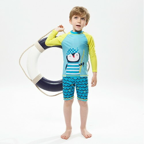 Children New Style Bathing Suit Women's Big Boy Swimwear Long Sleeve Male Baby Cartoon Beach Quick-Dry Diving Suit Bubble Hot Sp