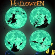 Luminous Lunar Wallpaper Halloween Bat Castle Witch Window Sticker Kids Room Christmas Decorations for Home New Year Stickers