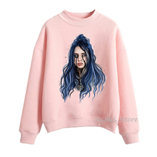 2019 hot sale billie eilish pink hoodie funny Billie Eilish Print sweatshirt women clothes autumn winter casual long-sleeved coat harajuku